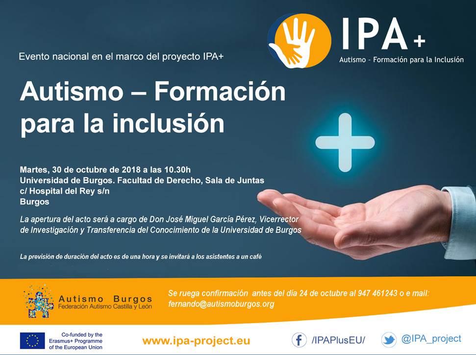 Autismo- formación para la inclusión. Acto del proyecto IPA+ en Burgos